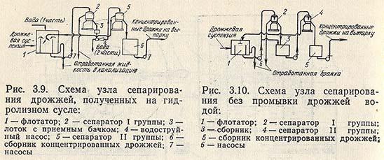 Схемы узла сепарирования дрожжей, полученных на гидролизном сусле и сепарирования без промывки водой